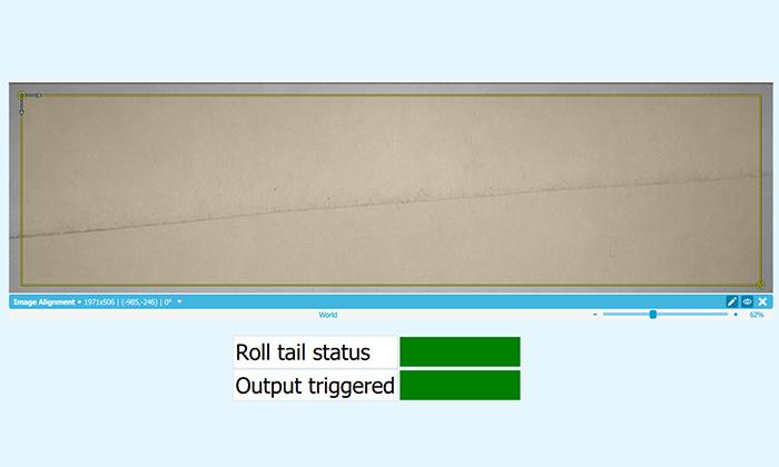 machine vision application of procemex shows paper roll tail stutus